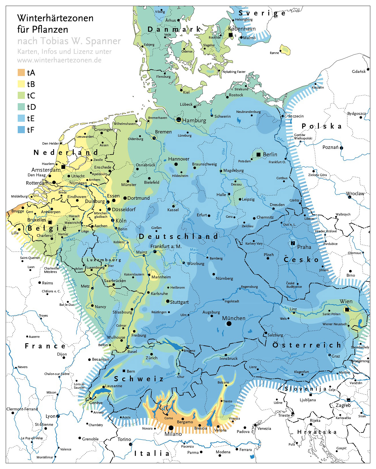 winterhärtezonen deutschland karte Winterhärtezonen für Pflanzen nach Tobias W. Spanner : Palmen